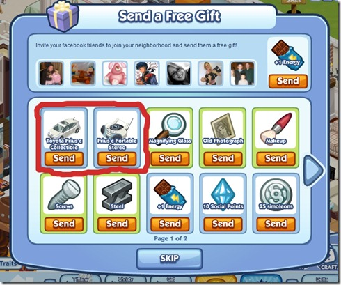 Send a Free Toyota Gift in Sims Social