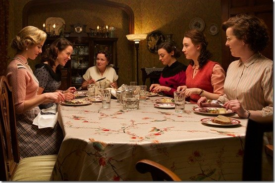 "Emily Bett Rickards as ""Patty,"" Eve Macklin as ""Diana,"" Julie Walters as ""Mrs. Kehoe,"" Nora-Jane Noone as ""Sheila,"" and Saoirse Ronan as ""Eilis"" in BROOKLYN. Photo courtesy of Fox Searchlight Pictures. © 2015 Twentieth Century Fox Film Corporation All Rights Reserved"